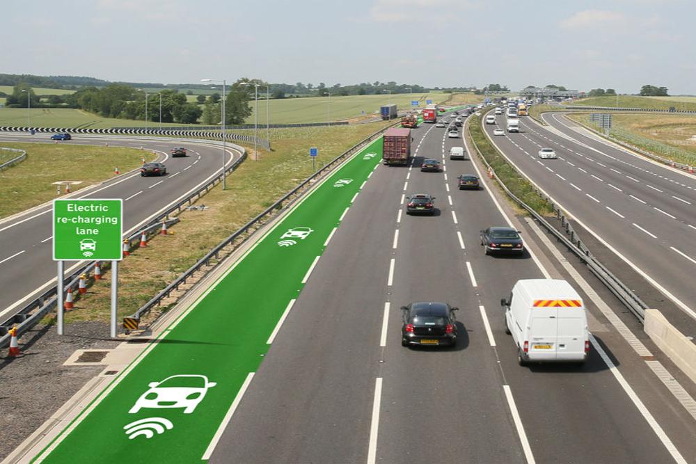 Estradas que carregam carros eléctricos
