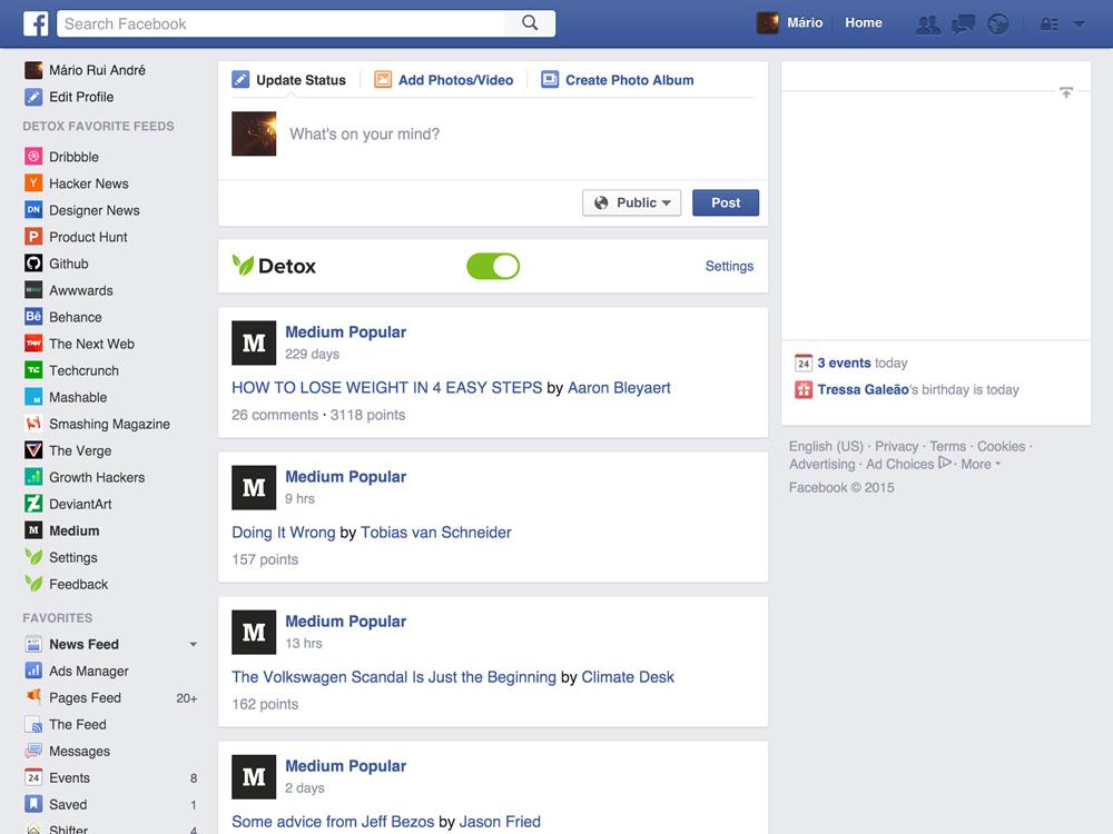 facebook feed extensão detox