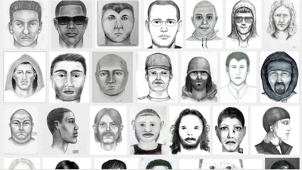 desenhos policiais com a cara de criminosos