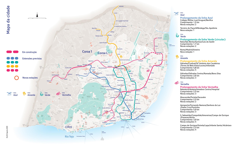 Anterior plano de expansão do Metro de Lisboa