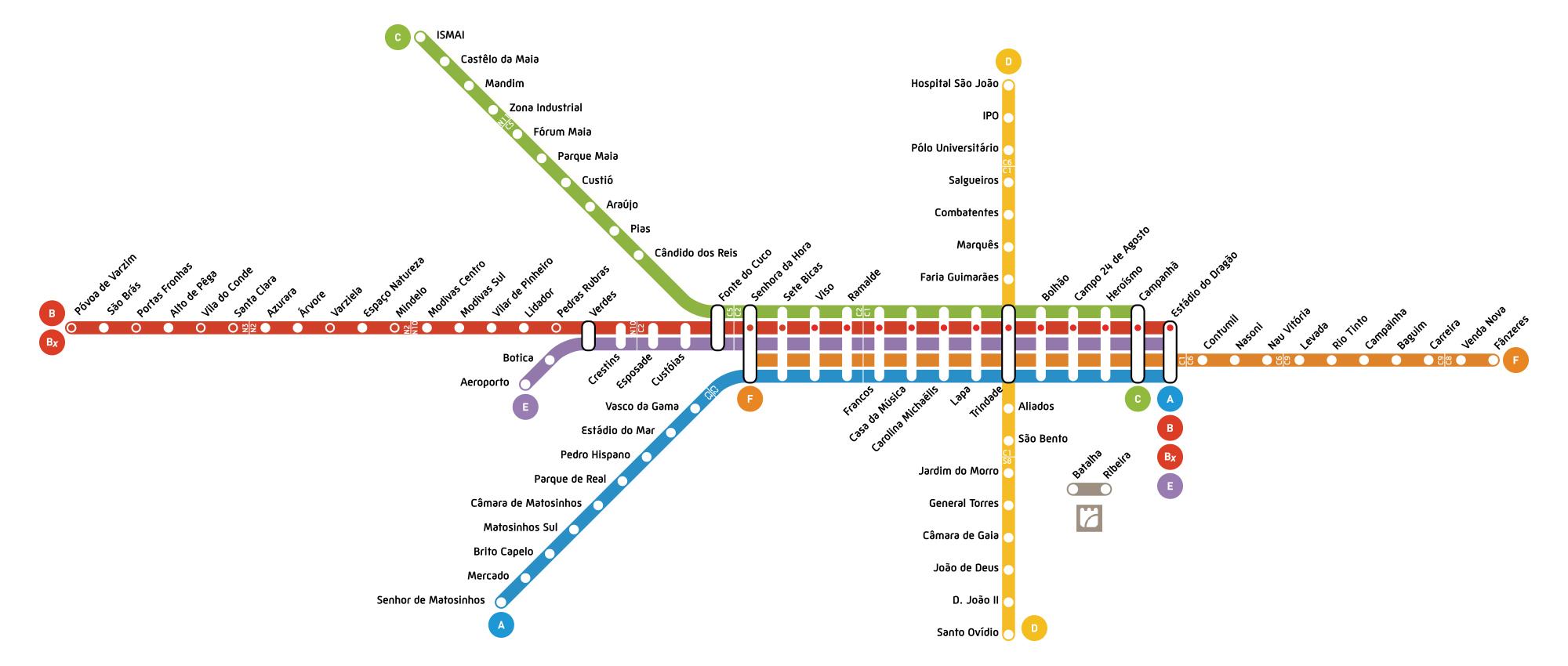Actual diagrama do Metro do Porto
