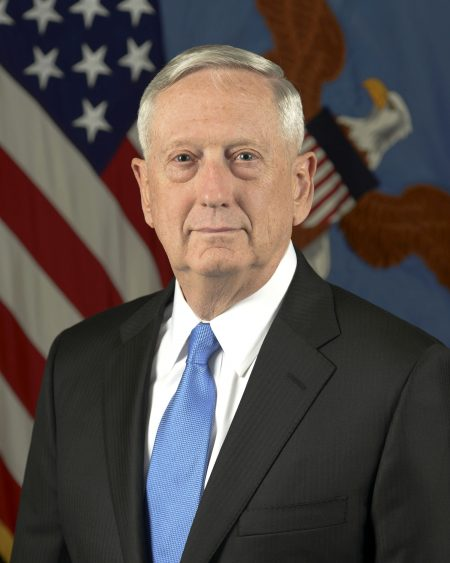 James N. Mattis, the 26th Secretary of Defense, poses for his official portrait in the Army portrait studio at the Pentagon in Arlington, Virginia, Jan 25, 2017.