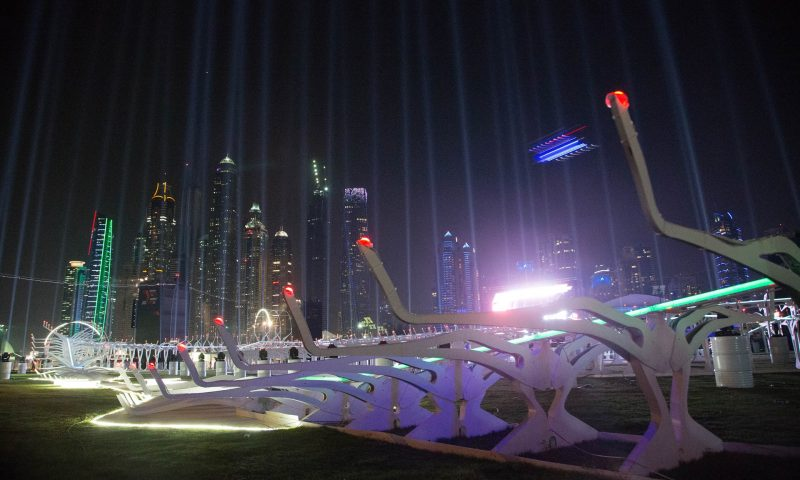 Pista de corrida de drones do World Drone Prix 2016, no Dubai. Créditos: Bloomberg