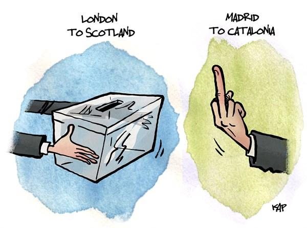 Cartoon comparativo entre as negociações para os referendos de independência de Escócia e Catalunha e respetivos governos centrais (Reino Unido e Espanha).