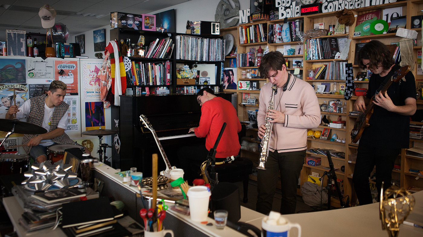 BADBADNOTGOOD performs a Tiny Desk Concert on Jan. 4, 2017. (Claire Harbage/NPR)