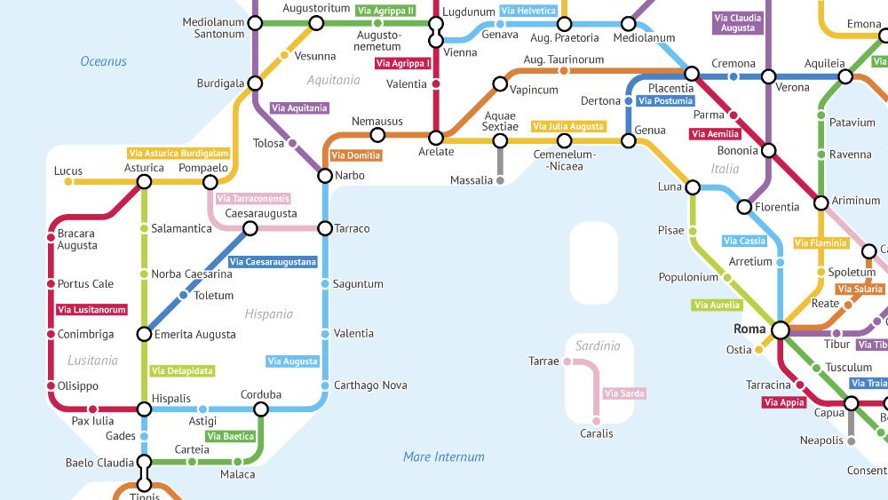 império romano mapa de metro