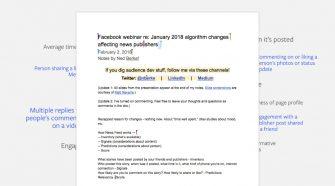 Mudanças news feed facebook google docs