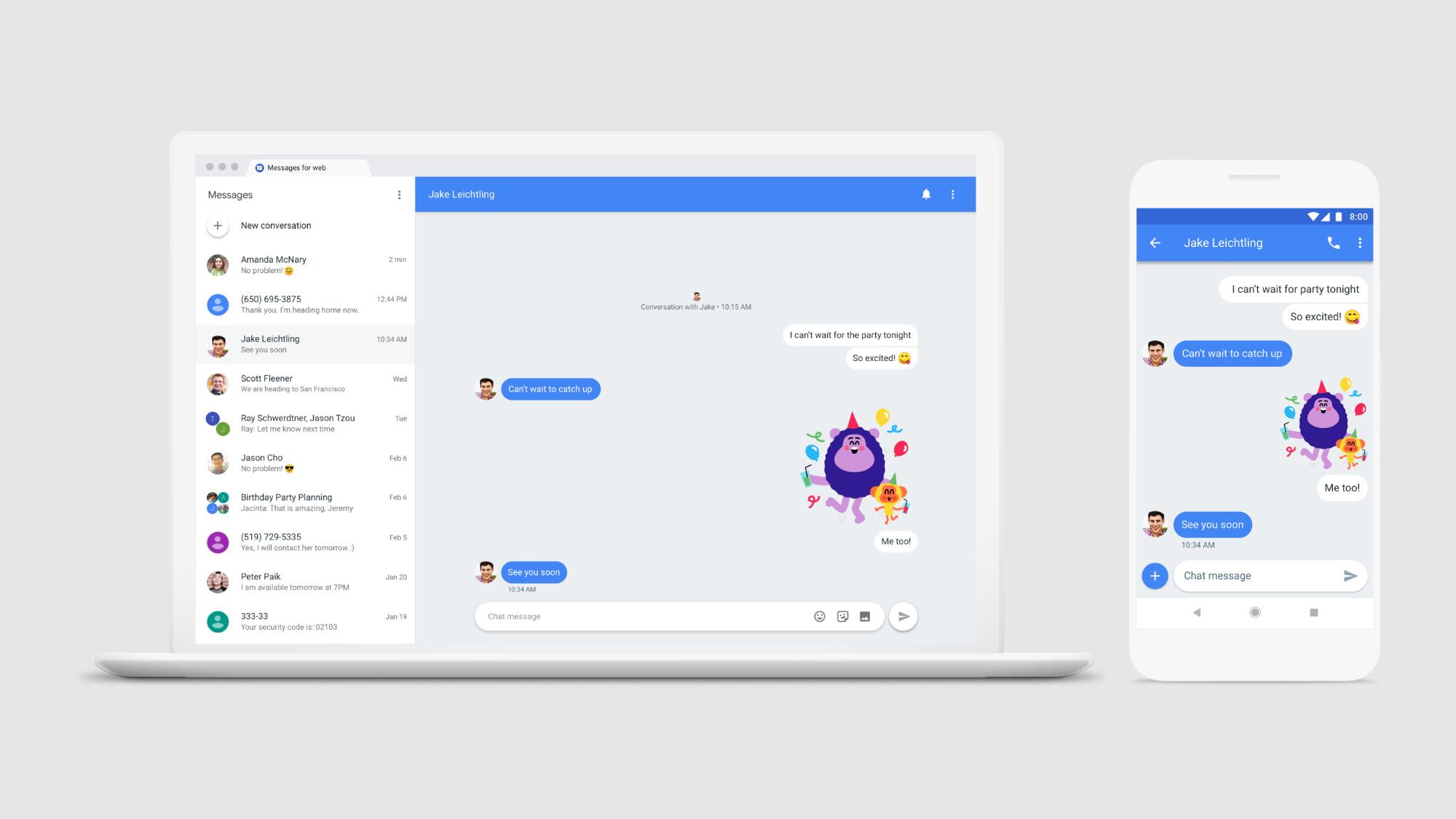Versão web do Android Messages, onde poderás ver os teus SMS e outro tipo de mensagens