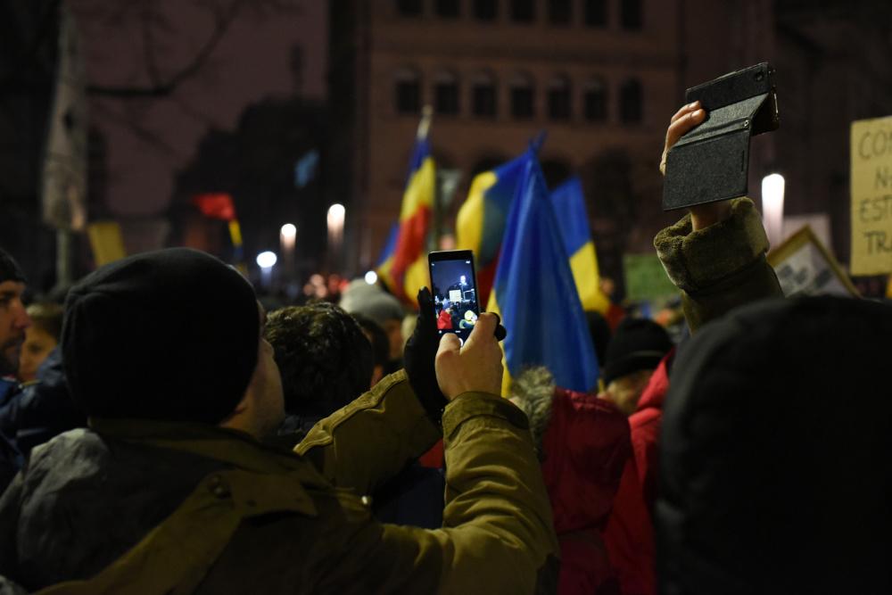 Um protesto em Bucareste em 2017 (foto de Paul Arne Wagner via Flickr)