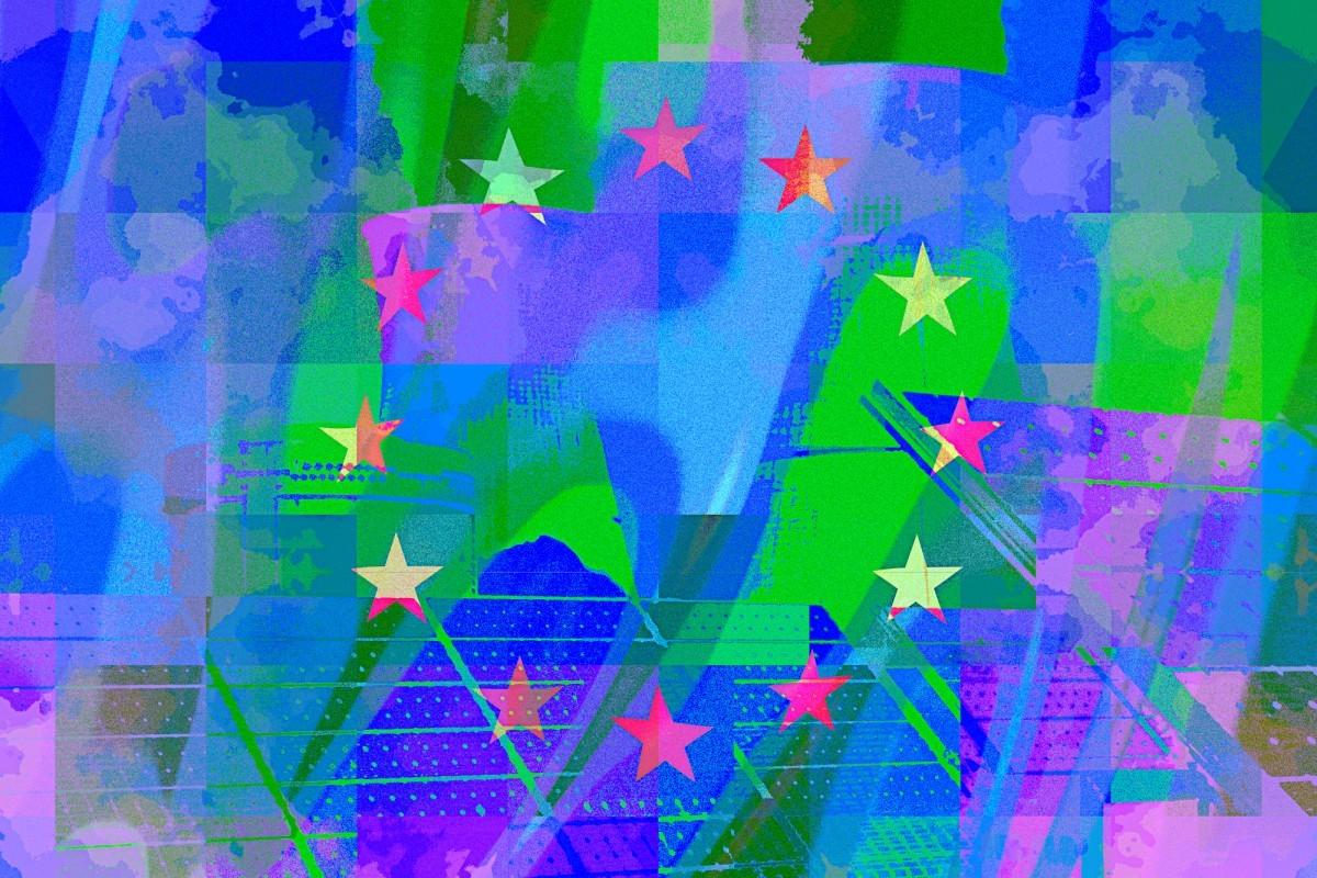 European union flag, three dimensional render, satin texture