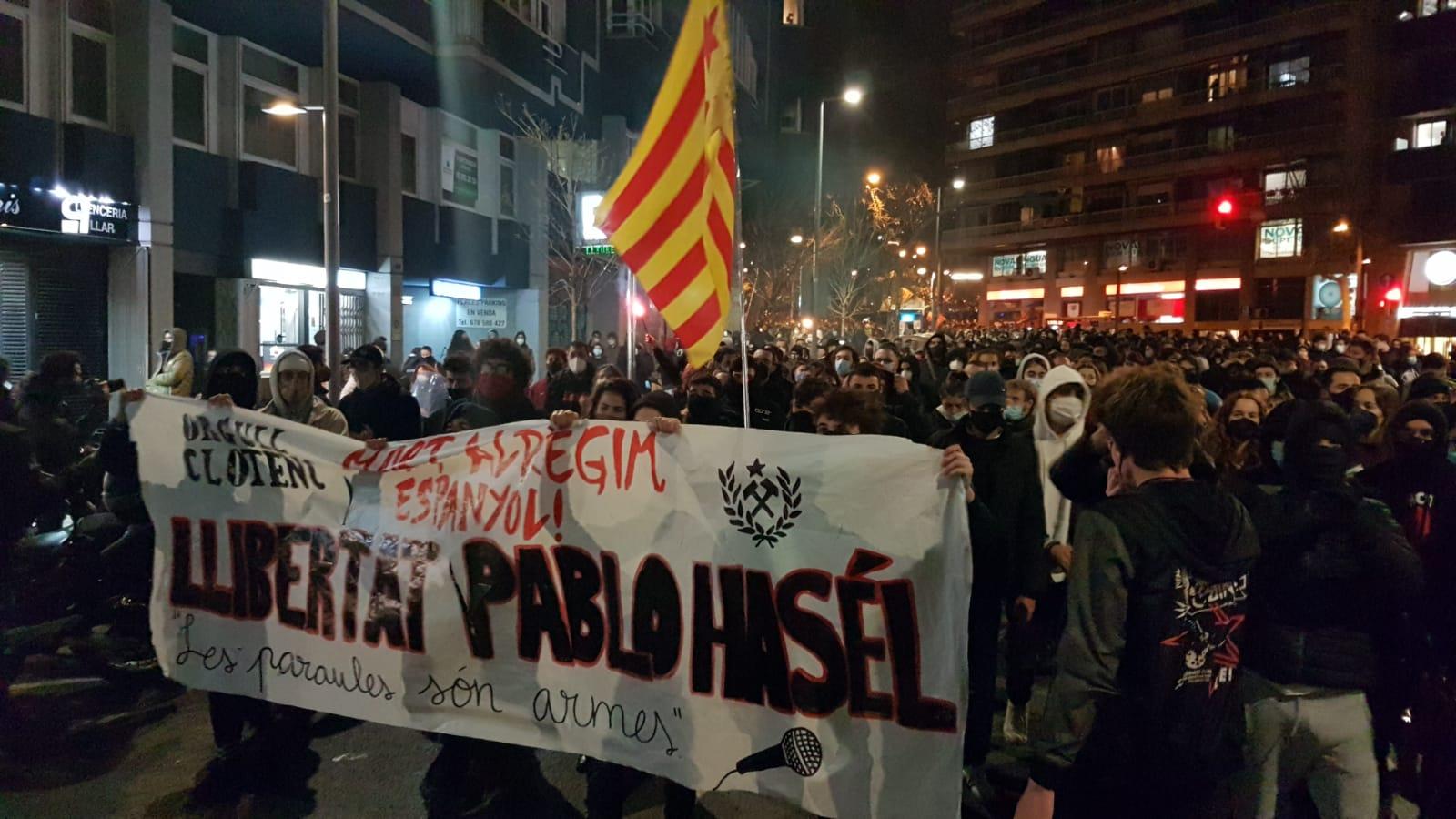 Manifestação pela libertação de Pablo Hasél