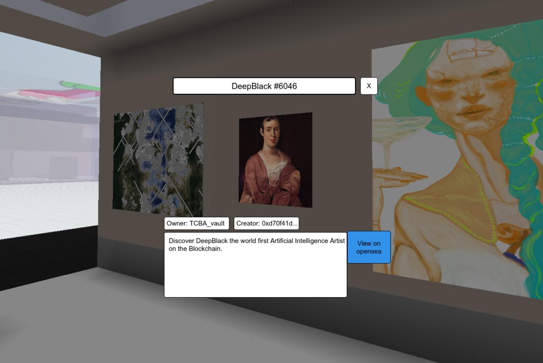 Captura de ecrã de uma obra selecionada no Thoreau Blockchain Art Center (Podes aceder via: https://www.cryptovoxels.com/play?coords=N@280W,72N )